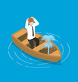 isometric businessman sitting in leaking boat vector image vector image
