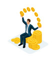 isometric businessman sitting on a big pile of mo vector image vector image