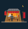 japanese food stall street vendor in night flat vector image vector image