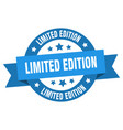 limited edition ribbon limited edition round blue vector image vector image