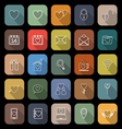 Love line flat icons with long shadow vector image