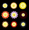 lovely colorful suns on black background vector image vector image