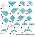 Make origami a chicken that is born from egg vector image