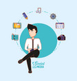 man sitting using cellphone connected social media vector image
