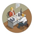 Manager woman talk with vector image