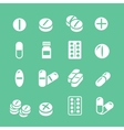 Medical pills white icons set collection vector image vector image