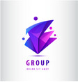 men geometric 3d logo 4 people teamwork vector image