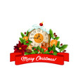 merry christmas eve clock decorations icon vector image vector image