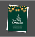 merry christmas glowing lights green background vector image vector image