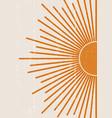 orange sun print boho minimalist printable wall vector image vector image