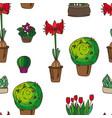pattern indoor plants vector image vector image