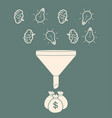 profit concept brains and light bulb falling into vector image vector image