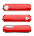 red oval buttons menu interface icon with chrome vector image vector image