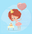 redhead girl blowing out birthday cake candle vector image