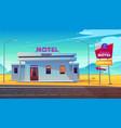 roadside motel on dessert highway cartoon vector image vector image