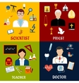 Scientist teacher doctor and priest professions vector image vector image