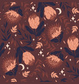 seamless pattern with protea flowers graphics vector image vector image