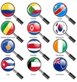 Set Flags of world sovereign states magnifying vector image vector image