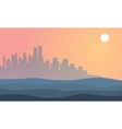 Silhouette of city town landscape at sunset vector image vector image