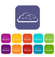snow cloud icons set flat vector image vector image