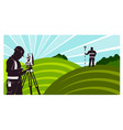 surveyors with a geodimeter in field vector image