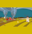 tornado destroying farm hurricane landscape vector image