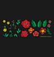 vintage flower elements for embroidery design vector image