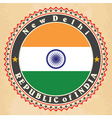Vintage label cards of India flag vector image vector image