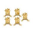 year gift box ribbon anniversary set vector image vector image