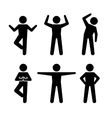 Yoga and Fitness Positions Black Silhouettes Human vector image vector image
