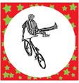 man jumping on bmx bike silhouette vector image