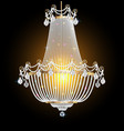 a chandelier with crystal pendants on black vector image vector image