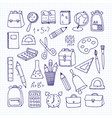 a set of school subjects on a notebook sheet back vector image vector image