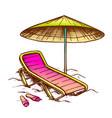 beach chair with umbrella and slippers ink vector image