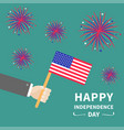 businessman hand holding american flag star and vector image vector image