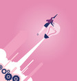 businesswoman with a light bulb rocket - business vector image