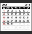 calendar sheet july 2018 vector image vector image