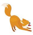 cartoon fox yawns stylized cute fox vector image vector image