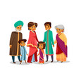 cartoon indian family in national costume vector image vector image