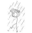 cartoon man or businessman walking in rain vector image vector image