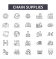 chain supplies line icons signs set vector image vector image
