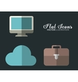 cloud computer and suitcase icon Office vector image
