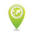 earth icon on map pointer green vector image vector image