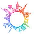 famous world landmarks located around globe vector image