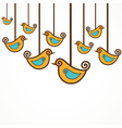 Funny yellow birds on the strings vector image vector image