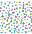 girl cat and flowers cute seamless pattern vector image