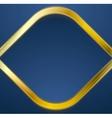 Golden metal rhombus shape on blue background vector image vector image