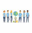happy eco volunteers - cartoon people characters vector image vector image