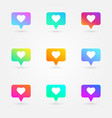 like and heart icons set social network symbol vector image vector image
