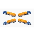 Low poly blue truck with the orange fuel tank vector image vector image
